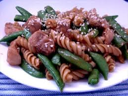pork, sesame brown rice pasta